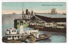 Steam Tug Boat Ships Galveston Texas 1910c postcard