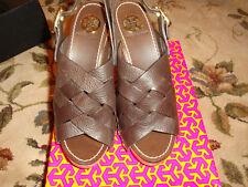Tory Burch Jodie Tumbled Leather Brown Heels Size 8 NIB