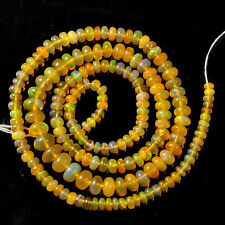 """3.3mm-6.88mm Fine Ethiopian Welo Opal Smooth Rondelle Beads 17.5"""" Strand"""
