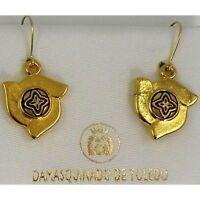 Damascene Gold Flower Geometric Design Drop Earrings by Midas of Toledo Spain