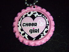 Cheer Girl Cheerleader BOTTLE Cap Jewelry Necklace - *Free Chain* party favors