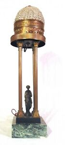 Neoclassical Bronze Figurine Spelter Brass Lamp Austria Crystal Bead Dome Shade