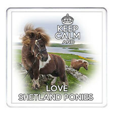 KEEP CALM AND LOVE SHETLAND PONIES , Pony Gift Coaster. Matching Mug Available