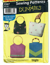 SIMPLICITY PATTERN 5567 SEWING PATTERNS FOR DUMMIES BAGS IN FOUR STYLES