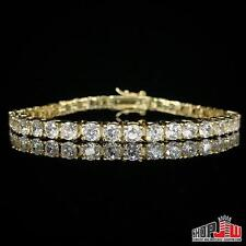 "Yellow Gold Plated Simulated Diamond One 1 Row Bracelet Mens 8"" Tennis Migos"
