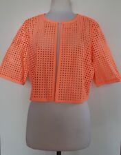 TABLE EIGHT Bright Orange Lazer Cut Short Balero Jacket Size 14