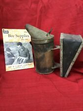 Vtg Root bee smoker & 1954 Root bee supplies catalog super shape