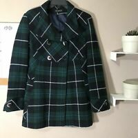 Searle Womens Size 6 Green Plaid Coat Jacket Winter