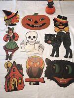 Vintage Antique Cardboard Halloween decorations lot. Beistle H. E. Luhrs Die Cut