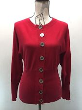 Anne Klein Red Cardigan Sweater Gold Buttons S Long Sleeve Fitted Cotton Blend
