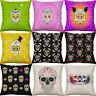 "18"" Cartoon Skull Print Cushion Covers Cotton Linen Throw Pillow Case Home Decor"