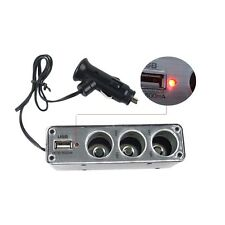 3 Way12V Multi Socket Car Cigarette Lighter Splitter USB DC Charger Adapter UL