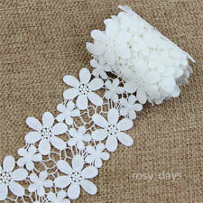2 Yards 10cm Off White Cotton Lace Trim Applique Flower DIY Sewing Craft Trimmng