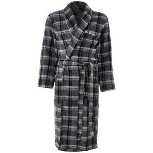 BEN SHERMAN Men's Fluffy Fleece Robe Bathrobe Grey Check Mitchell Small