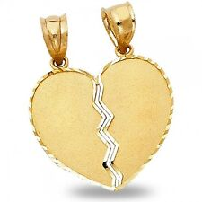 Solid 14k Yellow Gold Broken Heart Pendant Couple Sharing Charm Diamond Cut
