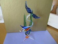 """BEAUTIFUL VINTAGE GLASS TROPICAL FISH IN REEDS ORNAMENT 6"""" TALL"""