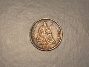 1871 S Seated Liberty Half Dime (Abt. XF, Scarcer, & Attractive)