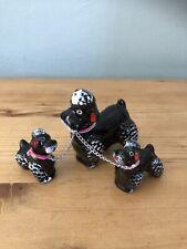 Antik / Vintage Mutter Pudel & 2 Welpen / Black Dogs Figurinen Sammelobjekt