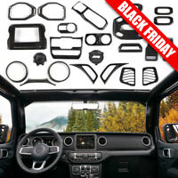 24pc Interior Accessories Decor Cover Trim For 18+ Jeep Wrangler JL Carbon Fiber