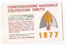 TESSERA 1977 CONFEDERAZIONE NAZIONALE COLTIVATORI DIRETTI TESTICO 21-201