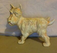 """Antique Cast Iron Door Stop. Comical White Scotty Dog Doing """"His Duty""""."""