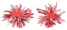 Zest Navidad oropel Rosetas con estrellas Cabello sleepies Diapositivas Rojo Y Plata
