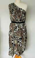 ASOS Maternity Dress Size 12 LEOPARD Print | NEW One Shoulder Midi Tie Waist