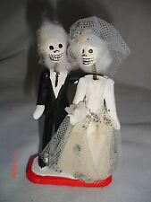 Vintage Mexican Day of the Dead Wedding Couple Dolls Statue Figure Folk Art