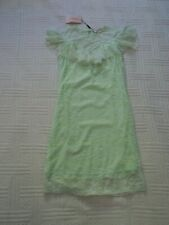 BNWT ... Voyelles  ... size S  ...  PALE GREEN  DRESS  -  LACE over SILKY JERSEY