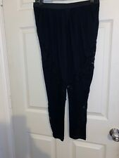 Thakoon Crochet Lace Inset Cotton Pleated Front Pants Black Leggings Skinny 2