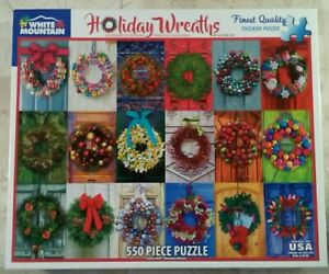 """White Mountain HOLIDAY WREATHS 1326 Jigsaw Puzzle 550 piece 18x24"""" A. Lee 2017"""