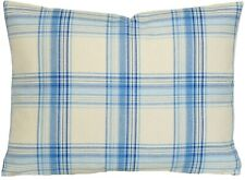 Checks Cushion Cover Ian Mankin Brighton Blue Cotton Woven Fabric CLEARANCE