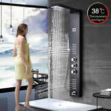 Thermostaic Oil Rubbed Bronze Shower Panel Tower Rain&Waterfall Massage System