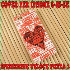 Back cover custodia gel silicone tpu per apple iphone 5-5S-SE Scritta LOVE rossa