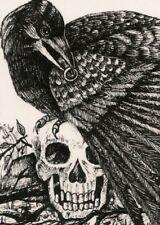 ACEO PRINT OF DRAWING CROW GOTHIC HALLOWEEN SKULL ART RYTA CEMETERY MORBID DARK