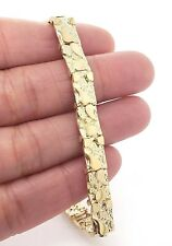 """Real Solid 10k Yellow Gold Nugget Bracelet 8"""" - 8.5"""" 7mm 15.4 grams"""