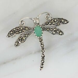 Sterling Silver 925 Marcasite & Emerald Vintage Inspired Dragonfly Brooch Pin