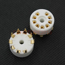Gold plated 9pin B9A ceramic tube socket for 12AX7 ECC83 5670 EL84 PCB mount x7