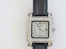 "GENEVA Quartz Floating Crystals Watch HAPPY CRYSTALS Black Leather Band 1""Square"