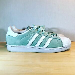 Adidas Superstar Shell Toe White Mint Green Unisex Classic Shoes Women size 8