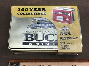 New old stock Buck 112 Ranger Pocket Knife with Tim & pin 100 years 1902-2002
