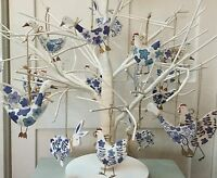 Blue & White French Hen Bunny Goose Rabbit Easter Decoration Tree Gisela Graham