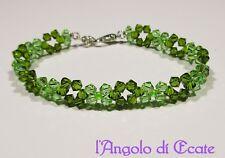 Idea regalo BRACCIALE BRACCIALETTO donna artigianale cristalli Swarovski verde