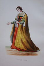 GRAVURE-ELEONORE DE PORTUGAL-COSTUMES MOYEN AGE 1847-ANTIQUE  PRINT
