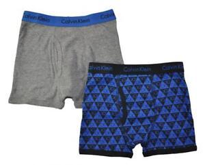 Calvin Klein Boys Gray & Blue 2 Pack Boxer Briefs Size 4/5 6/7 8/10 12/14 16/18