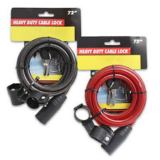 """72"""" 6 FT Cycling Heavy Duty Cable Keyed Bike Bicycle Lock w/ 2 Key & Holder NEW"""