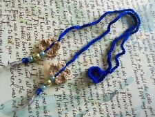 Blue Crochet Eyeglasses Strap With Beads and Crochet Butterflies.