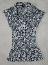 East 5th Women Petite Black White Career Professional Button Down Collar Top PS