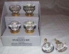 Clear Glass Drawer Pulls Lot 6 pcs Furniture Handmade Jewel Knobs