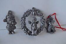 Miniature Metal Pewter Christmas Wreath Santa Bear Lot of 3 Figurines Ornament